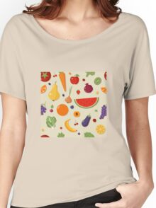 Healthy Food Seamless Pattern with Fruits and Vegetables Women's Relaxed Fit T-Shirt