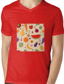 Healthy Food Seamless Pattern with Fruits and Vegetables Mens V-Neck T-Shirt