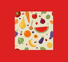 Healthy Food Seamless Pattern with Fruits and Vegetables Womens Fitted T-Shirt