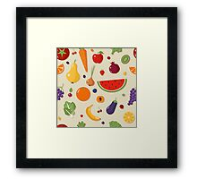 Healthy Food Seamless Pattern with Fruits and Vegetables Framed Print