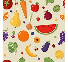 Healthy Food Seamless Pattern with Fruits and Vegetables Photographic Print