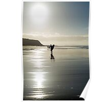 surfer and people silhouette out on the beach Poster