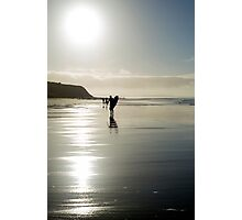 surfer and people silhouette out on the beach Photographic Print