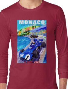 """MONACO GRAND PRIX"" Vintage Auto Racing Print Long Sleeve T-Shirt"