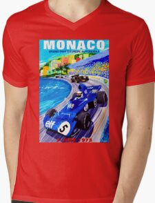 """MONACO GRAND PRIX"" Vintage Auto Racing Print Mens V-Neck T-Shirt"