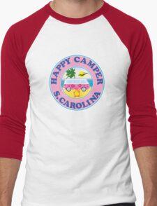 HAPPY CAMPER SOUTH CAROLINA CAMPING BEACH PEACE VOLKSWAGEN HIPPIE LOVE MYRTLE BEACH HILTON HEAD Men's Baseball ¾ T-Shirt