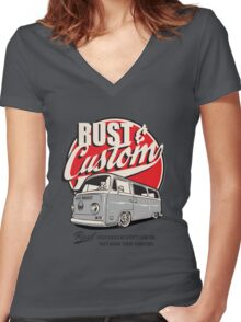 Rust & Custom Bay Window Campervan Women's Fitted V-Neck T-Shirt
