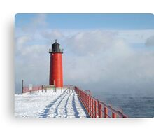 Milwaukee Lighthouse With Sea Smoke Canvas Print
