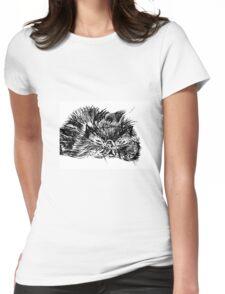 Sleepy Persian Kitty Womens Fitted T-Shirt