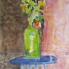 green Vase on purple stool by donnamalone