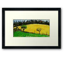 two trees along a fence French countryside Framed Print