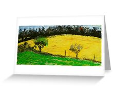 two trees along a fence French countryside Greeting Card