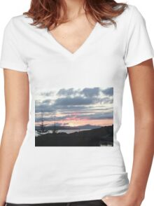 Last rays over Tingle Creek Women's Fitted V-Neck T-Shirt