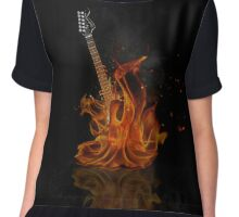 Flaming Black and White Electric Guitar Chiffon Top