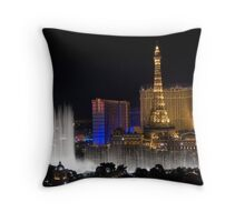 Eiffel Tower and Bellagio Fountains at night Throw Pillow
