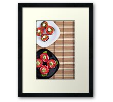 Top view of the vegetarian dishes of stewed eggplant and fresh tomatoes Framed Print