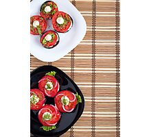 Top view of the vegetarian dishes of stewed eggplant and fresh tomatoes Photographic Print