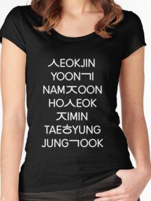 BTS members (hangul) - Black version Women's Fitted Scoop T-Shirt