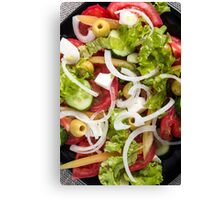 Top view of a salad made from natural raw vegetables Canvas Print
