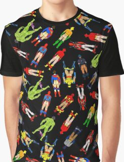Superhero Butts Scattered on Black Graphic T-Shirt