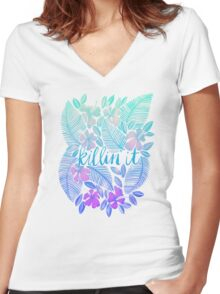 Killin' It – Turquoise + Lavender Ombré Women's Fitted V-Neck T-Shirt