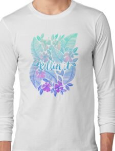 Killin' It – Turquoise + Lavender Ombré Long Sleeve T-Shirt