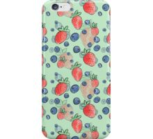 Summer Strawberries and Blueberries Pattern  iPhone Case/Skin