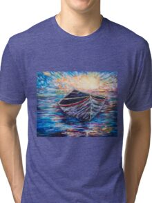 Wooden Boat at Sunrise Tri-blend T-Shirt