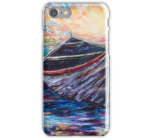 Wooden Boat at Sunrise iPhone Case/Skin