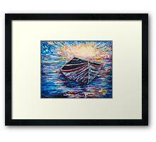 Wooden Boat at Sunrise Framed Print