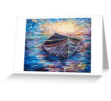 Wooden Boat at Sunrise Greeting Card