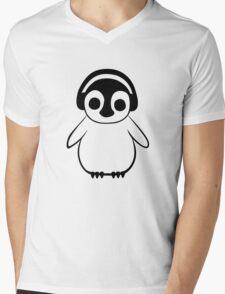 Penguin Listens to Music Mens V-Neck T-Shirt