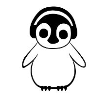 Penguin Listens to Music Photographic Print