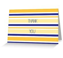 Yellow and Blue Stripes Thank You Greeting Card