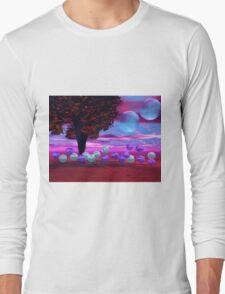 Bubble Garden, Abstract Rose, Violet & Azure Wisdom Long Sleeve T-Shirt