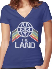 The Land Logo Distressed in Vintage Retro Style Women's Fitted V-Neck T-Shirt
