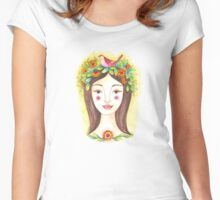 Woman crowned with flowers and bird Women's Fitted Scoop T-Shirt