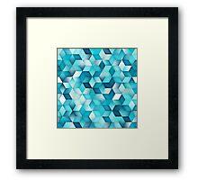 Blue Shades Gradient Rhombus Pattern Framed Print