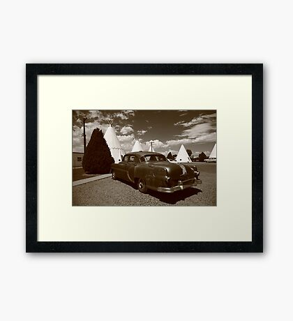 Route 66 - Wigwam Motel and Classic Car Framed Print