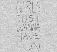 Girls Just Wanna Have Fun Pattern on White One Piece - Long Sleeve
