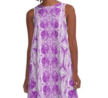 Purple Marble Watercolor Mirror Image A-Line Dress