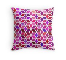 Pink Shades Gradient Rhombus Shape Grid Geometric Pattern Throw Pillow