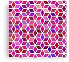 Pink Shades Gradient Rhombus Shape Grid Geometric Pattern Canvas Print
