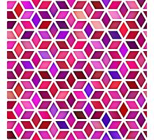 Pink Shades Gradient Rhombus Shape Grid Geometric Pattern Photographic Print
