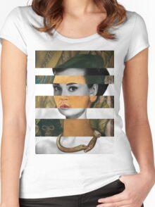 Frida Kahlo's Self Portrait with Monkey & Audrey Hepburn Women's Fitted Scoop T-Shirt
