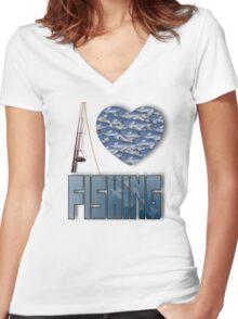 I love fishing Women's Fitted V-Neck T-Shirt