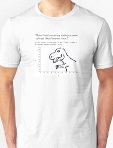 Datasaurus: Never trust summary statistics alone. Always visualize your data Unisex T-Shirt