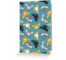 """""""Oro?"""" Cats - Teal Greeting Card"""