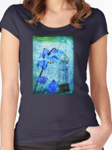 Bluebells on Vintage Postcard Women's Fitted Scoop T-Shirt