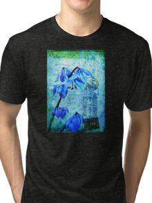 Bluebells on Vintage Postcard Tri-blend T-Shirt
